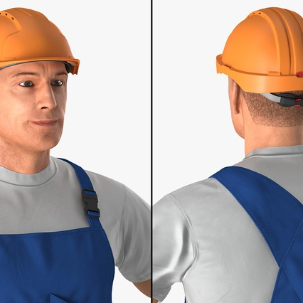 Construction Worker with Hardhat Standing Pose. Render 8
