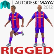 Soccer Player Barcelona Rigged 2 for Maya
