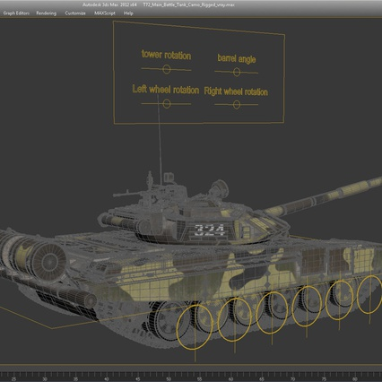 T72 Main Battle Tank Camo Rigged. Render 19