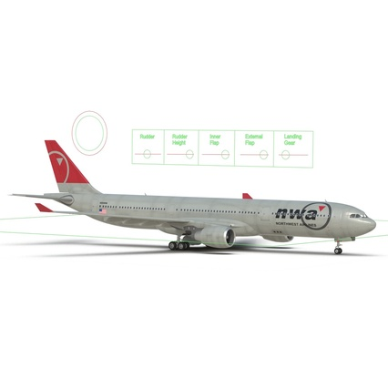 Jet Airliner Airbus A330-300 Northwest Airlines Rigged. Render 49