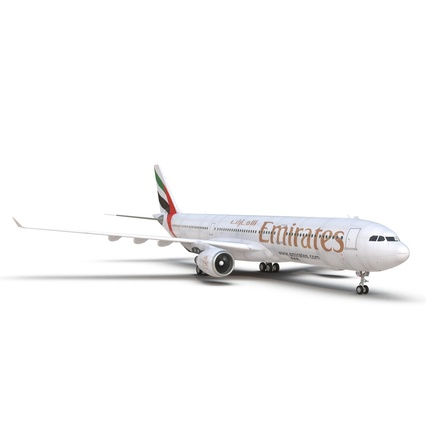 Jet Airliner Airbus A330-300 Emirates Rigged. Render 35
