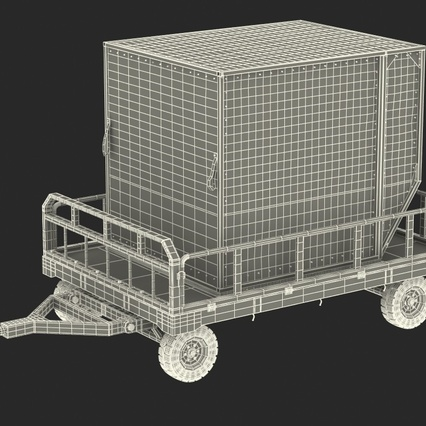 Airport Luggage Trolley Baggage Trailer with Container. Render 6