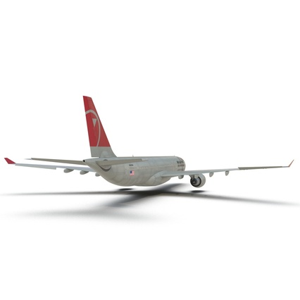 Jet Airliner Airbus A330-300 Northwest Airlines Rigged. Render 31