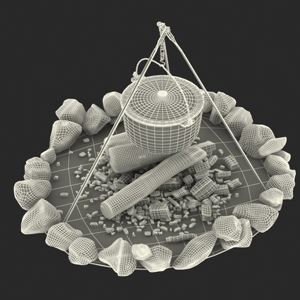 Campfire with Tripod and Cooking Pot. Render 24
