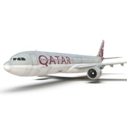 Jet Airliner Airbus A330-300 Qatar Rigged. Preview 37