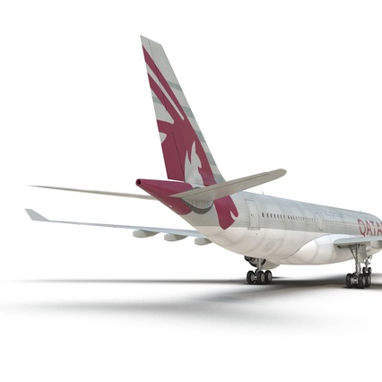 Jet Airliner Airbus A330-200 Qatar. Render 33