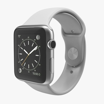 Apple Watch Sport Band White Fluoroelastomer 2. Render 1