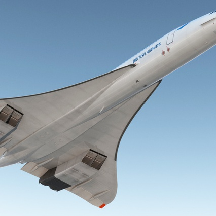Concorde Supersonic Passenger Jet Airliner British Airways Rigged. Render 9
