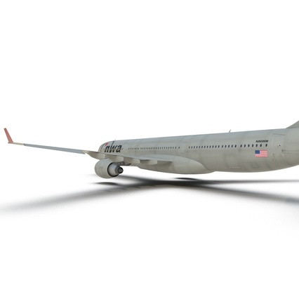 Jet Airliner Airbus A330-300 Northwest Airlines Rigged. Render 39
