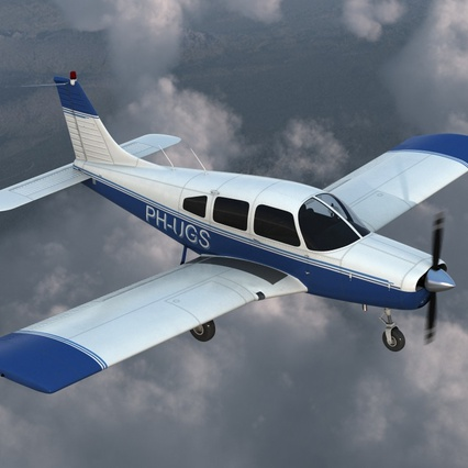 Piper PA-28-161 Cherokee Rigged. Render 8
