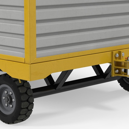 Airport Luggage Trolley with Container. Render 11