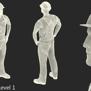 Construction Worker Black Uniform with Hardhat Standing. Preview 19